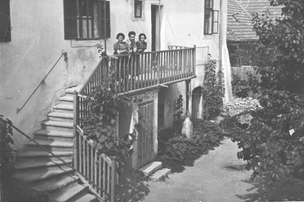 Outside our home in Eisenstadt, c.1937. Left to right Father's sister Gisi, Father and Mother