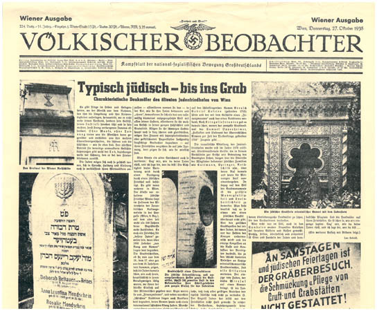 Völkischer Beobachter, the main official newspaper of the Nazi Party 27 October, 1938. Courtesy of The Wiener Library