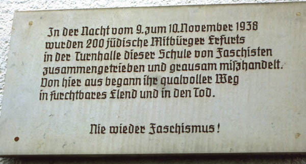Erfurt - plaque outside school with gym hall