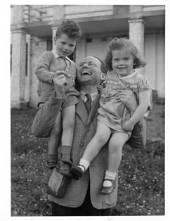 With Jack and an American benefactor at Bullsdog Bank in 1946