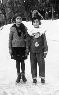Margarete (right) skating with a friend, Maribor
