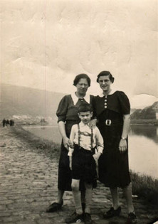 With mother and sister