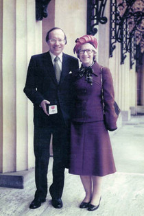 With Thea collecting his MBE at the Queen's birthday honours in June 1976