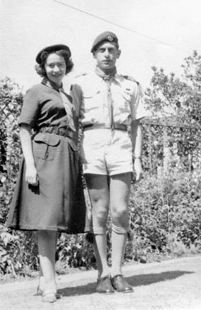 With husband in scout leader uniforms, 1962