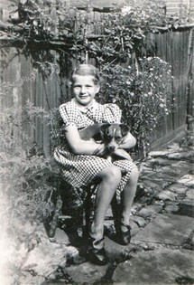 With her dog, Paul