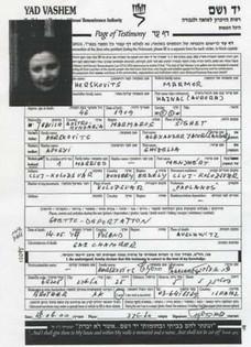 Sister: Yad Vashem Page of Testimony