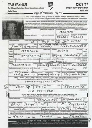 Nephew Robert: Yad Vashem Page of Testimony