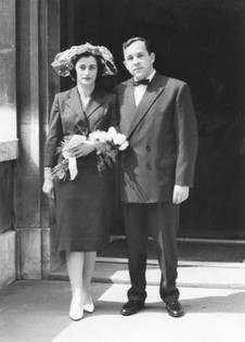 Wedding, July 1959 at Marylebone Town Hall. The registry office was in the basement