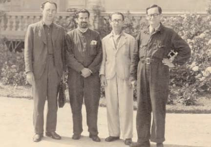 Four refugees interned on the Isle of Man, summer 1940. All were friends from Edinburgh, (left to right), marine biologist Willy Gross, doctor Max Sugar, composer and musicologist Hans Gal and dentist Hugo Schneider