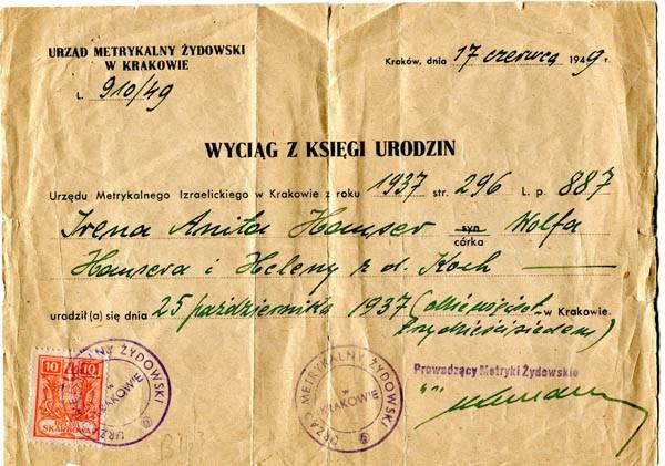 Irene birth certificate