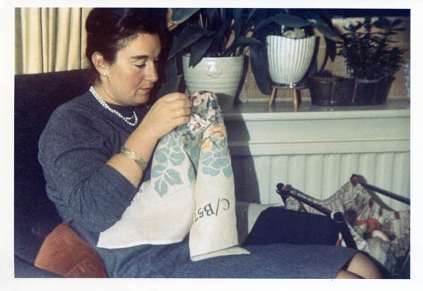 Suzanne embroidering in the 1960s