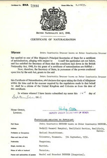 Certificate of British Naturalisation