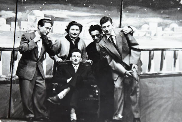 Cast from a play put on at the Jewish Gymnasium theatre in 1953. Tom is on the right