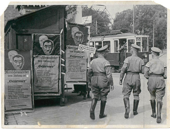Der Stürmer news boards were displayed on German streets to attract the attention of members of the public, 1934. Courtesy of the Wiener library