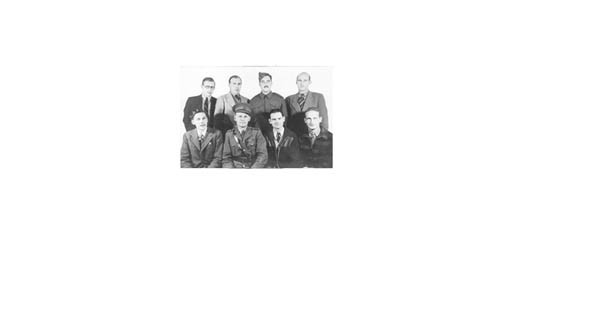 Heinz alongside fellow inmates at the Canadian Internment camp, Farnham 1941. Heinz on the back left.