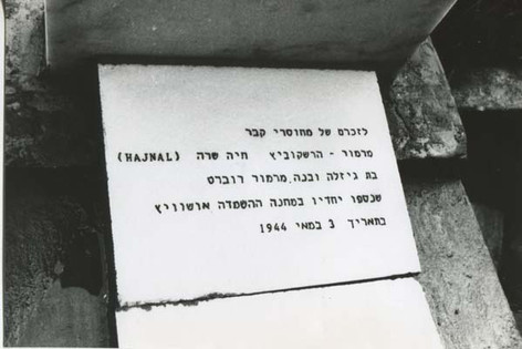 Sister Hajnal (Dawn) and her son Robert's plaque. They perished in Aushwitz