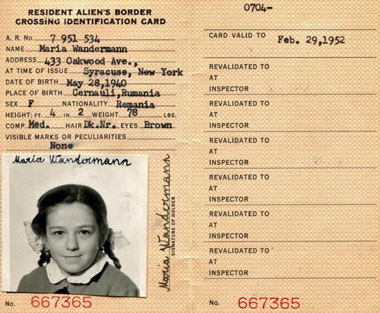 US Resident alien border crossing ID card