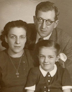 With parents, 1948
