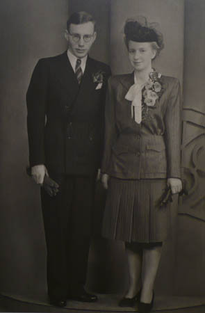 With Thea on wedding day, 30 July 1945