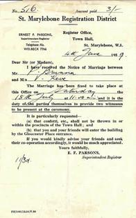 Letter from Marylebone Town Hall regarding wedding