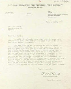 Letter to father from the Catholic Committee for Refugees from Germany (1939)