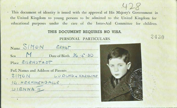 Entry permit on arrival in Harwich, January 1939