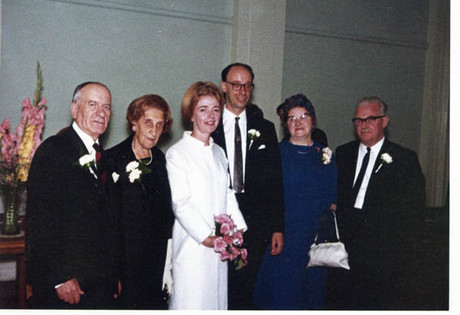 George and Mary's wedding day, with both sets of parents