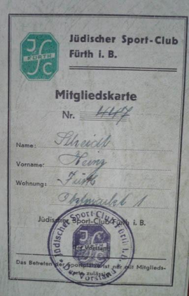 Fürth sports club membership card
