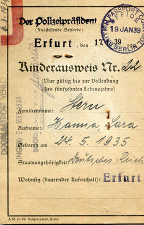 Hanna's passport for leaving Germany (front)
