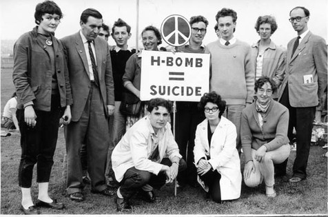 Protesting against the H-bomb at Greenham Common, 1960