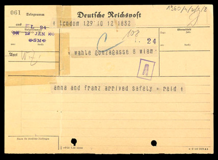 Arrival in London confirmation telegram, 1939