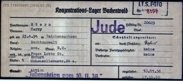Father's registration paper for Buchenwald