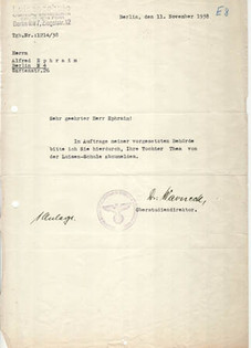Letter written on the 11 November 1938 by the headmaster of wife's school to father-in-law explaining that Thea was banned from school for being Jewish