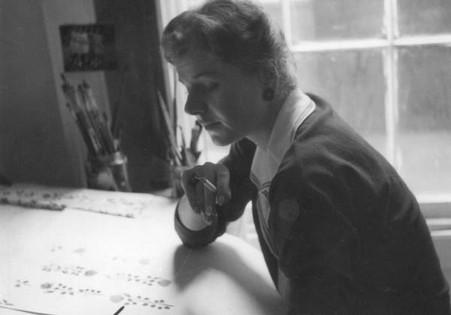 Hanna in her Ganton Street studio, 1959