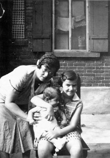 With sister Ruth and mother