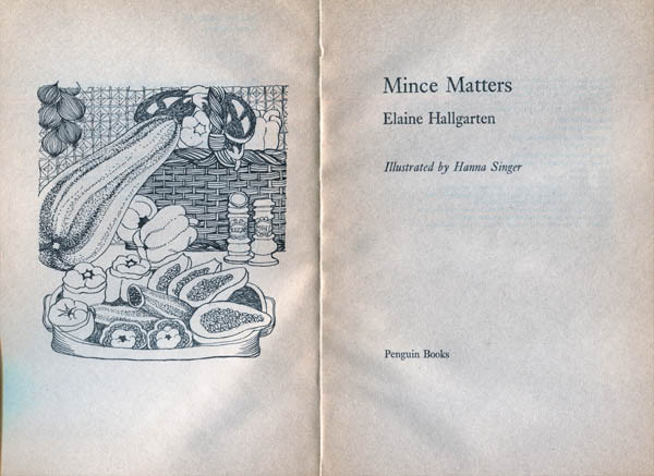 Mince Matters, cookery book written by Elaine Hallgarten and illustrated by Hanna