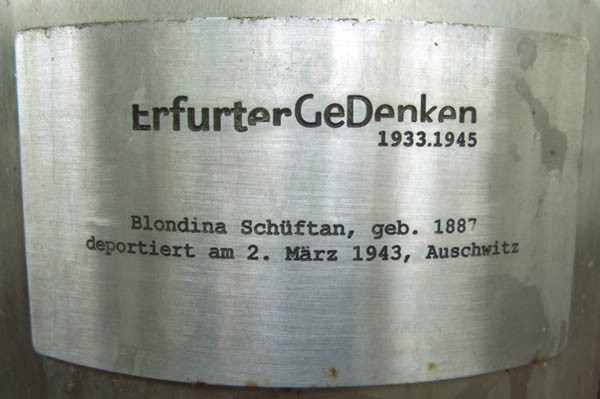 Erfurt - plaque dedicated to Tanti Shüfftan