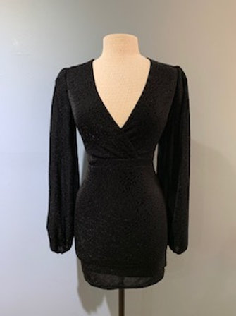 Black Stretch Lurex Wrap Dress