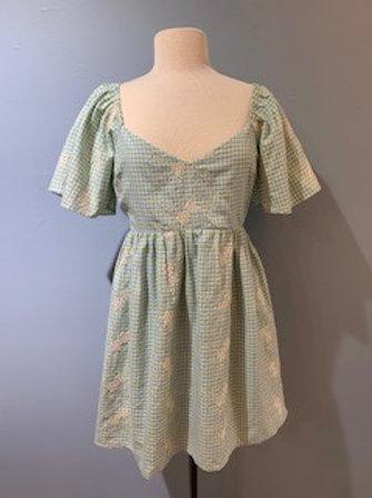 Sky Blue Gingham Embroidered Dress