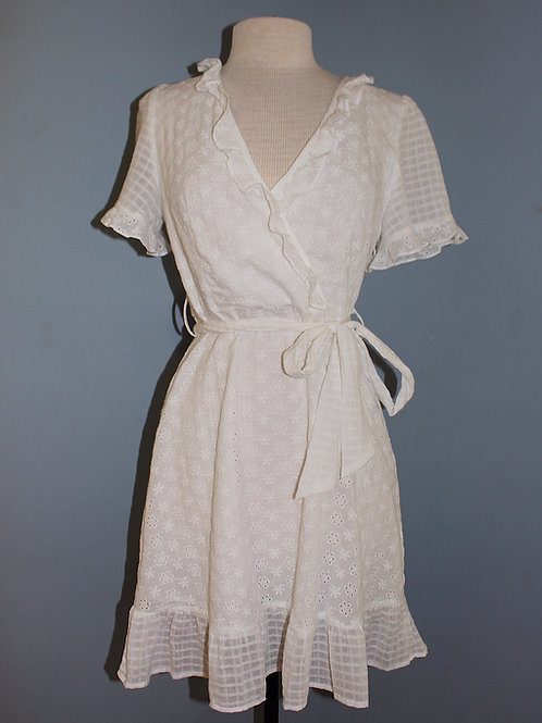 white eyelet short sleeve dress