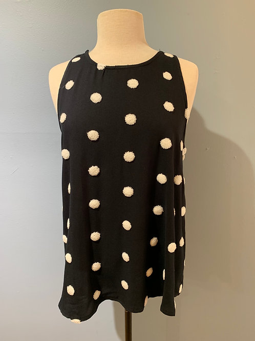 Black Tunic with Cream Pompoms