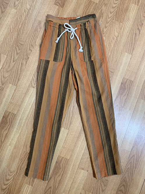Mustard Striped Drawstring Pants