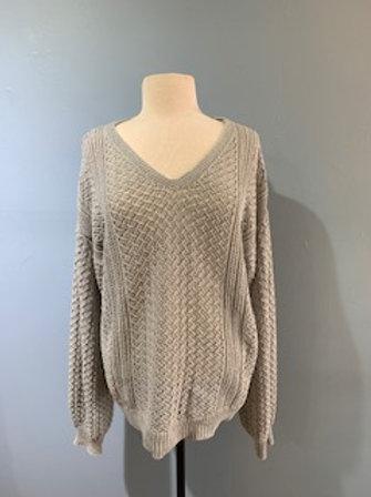 Grey Pointelle Knit Balloon Sleeve Sweater
