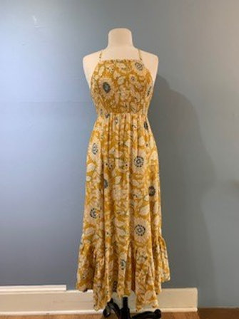 Yellow Floral Midi With Bottom Ruffle