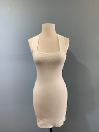White Bodycon Dress With Criss/Cross Back