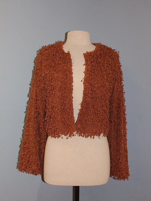 chestnut fluffy bolero jacket