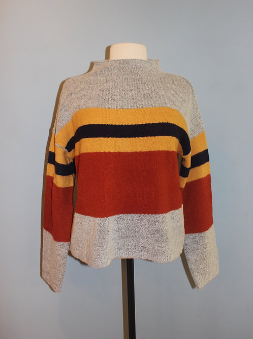 mustard and rust striped sweater
