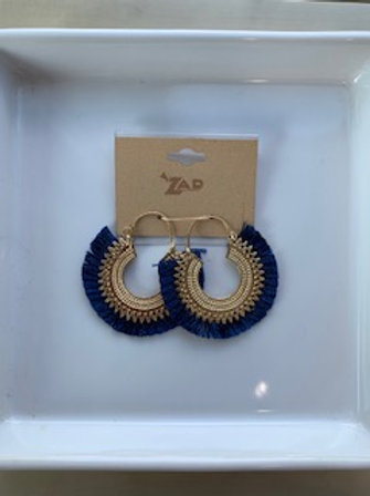 Navy Fan Earrings