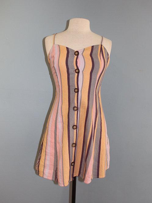 multi stripe button front dress
