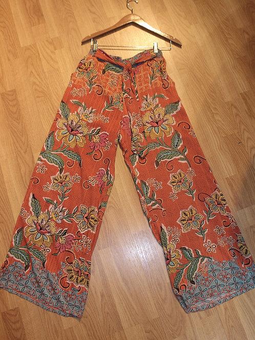 orange floral wide leg pants